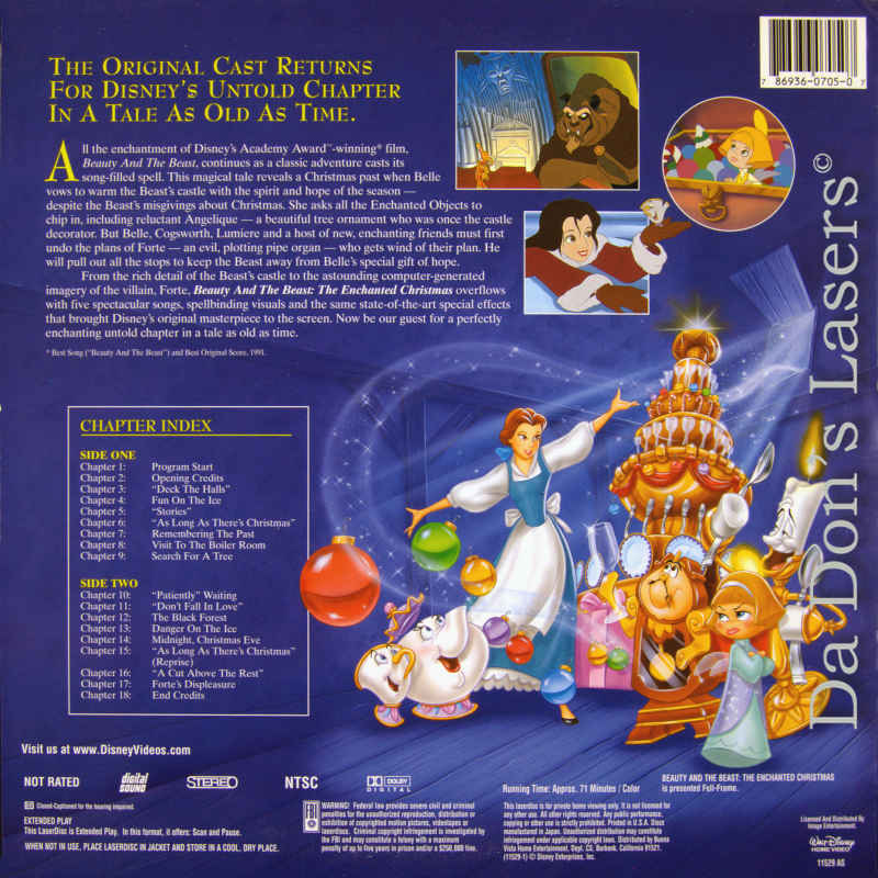 Beauty And The Beast Christmas.Beauty And The Beast Enchanted Christmas New Ac 3 Laserdisc Animation