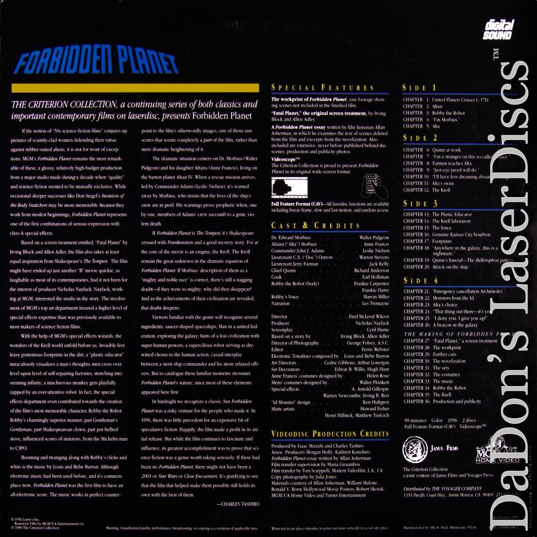 forbidden planet laserdisc rare laserdiscs criterion laserdiscs forbidden planet widescreen cav criterion 53 rare laserdisc sci fi