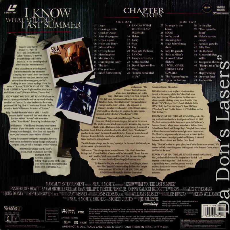 i know what you did last summer laserdisc rare laserdiscs