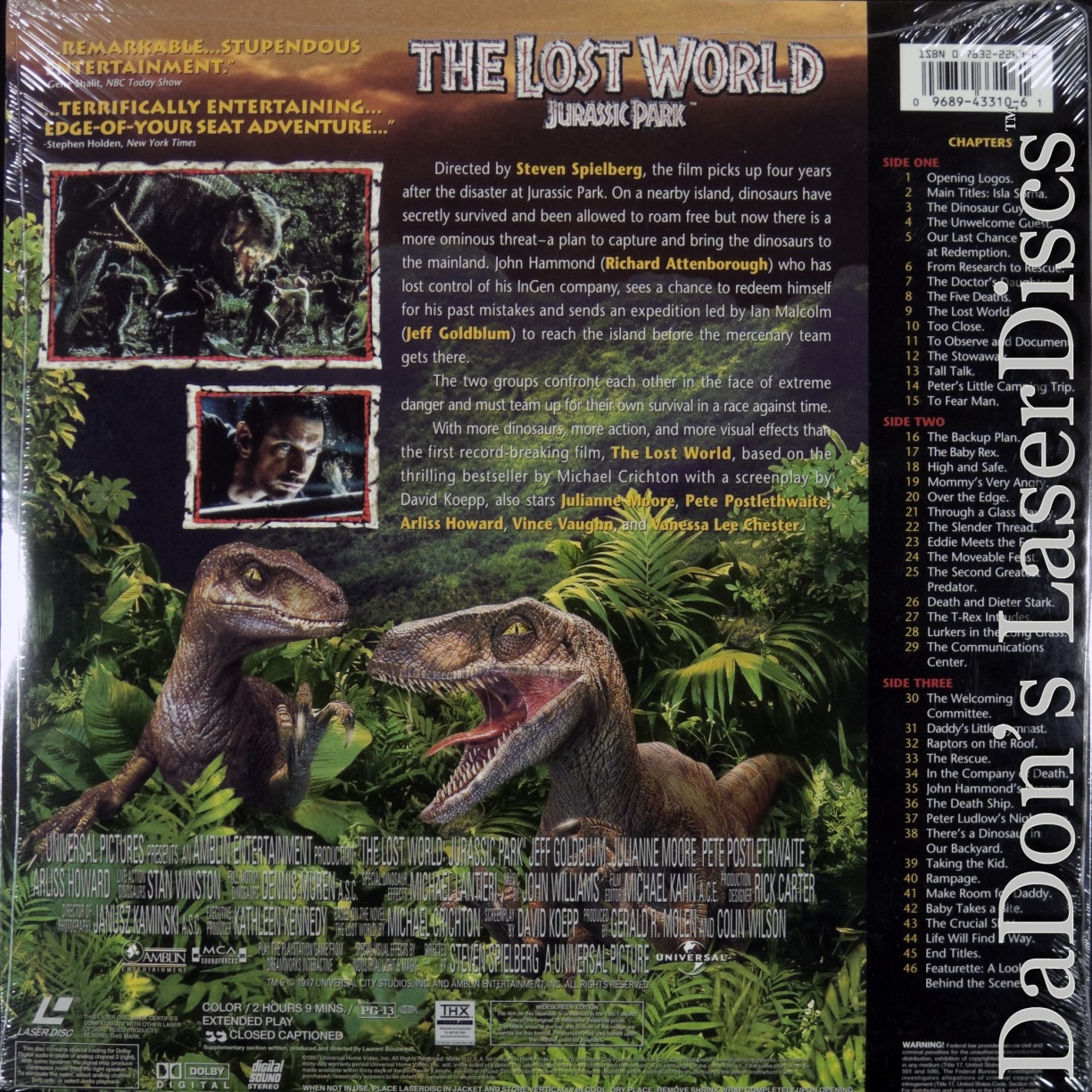 the lost world jurassic park laserdisc rare laserdiscs ac 3 dolby