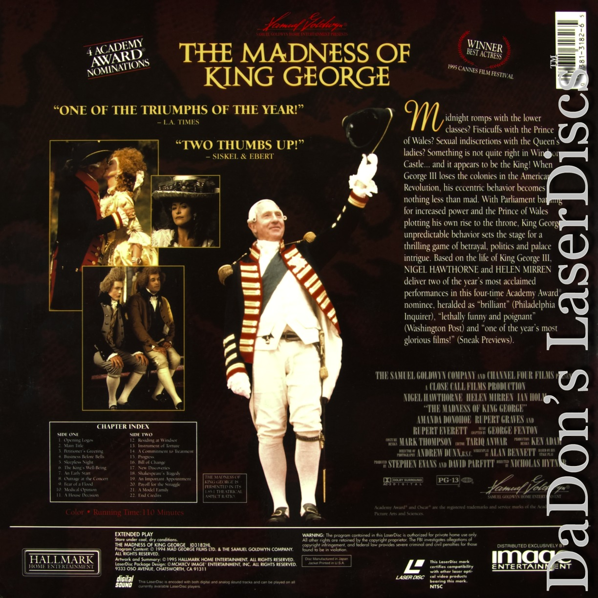the madness of king george Multi-award-winning drama the madness of george iii will be broadcast live to  cinemas, in national theatre live's first ever broadcast from nottingham.