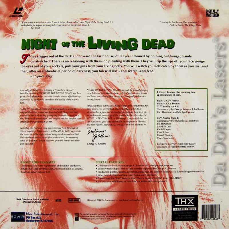 Night of the living dead 25th laserdisc, rare laserdiscs, elite.