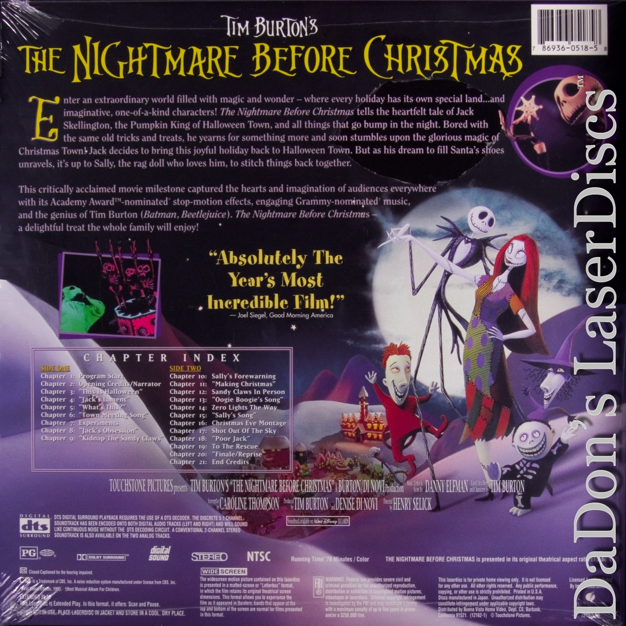 the nightmare before christmas dts ws rare laserdisc - Nightmare Before Christmas Runtime