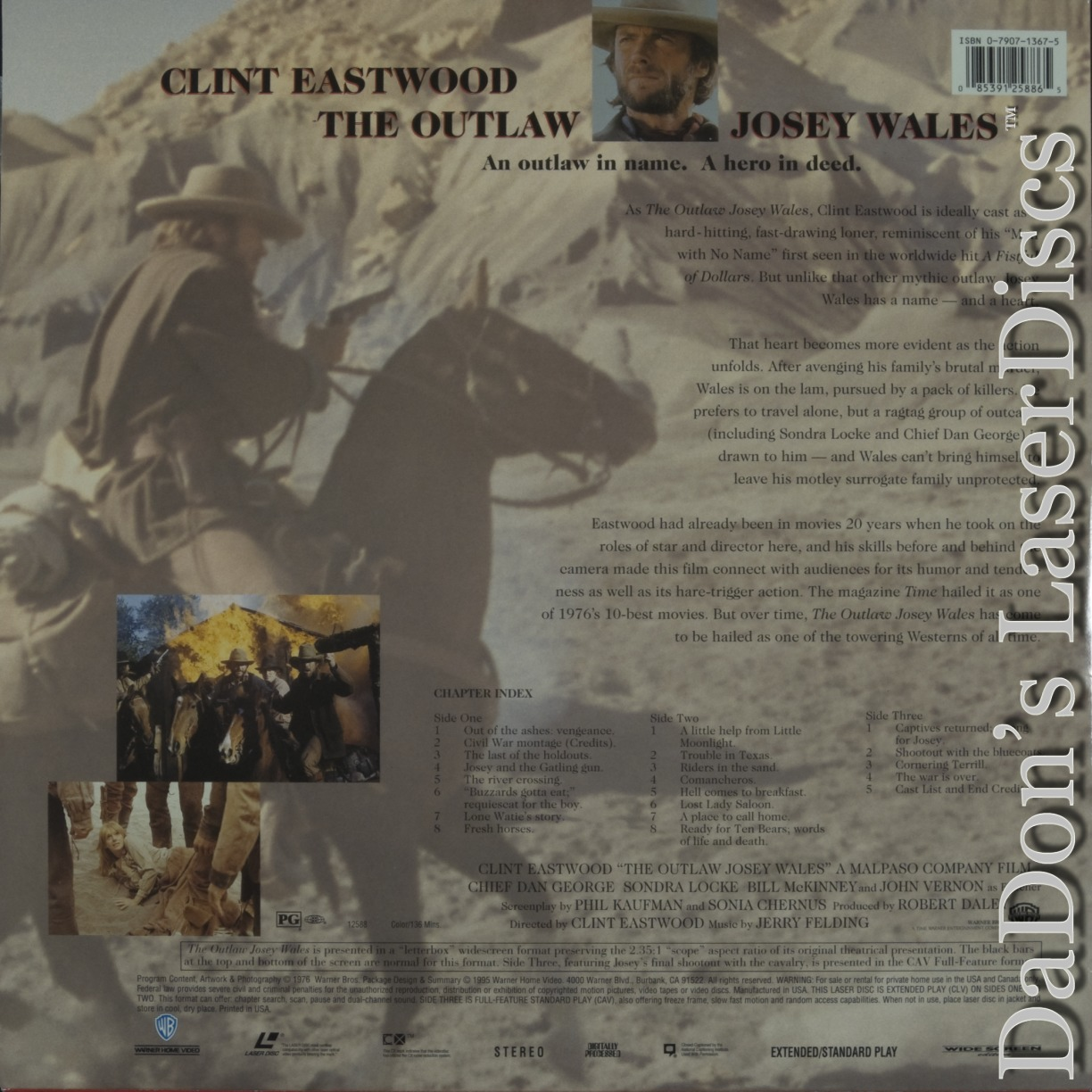 The Outlaw Josey Wales AC-3 RM WS Rare NEW LaserDisc Eastwood Western