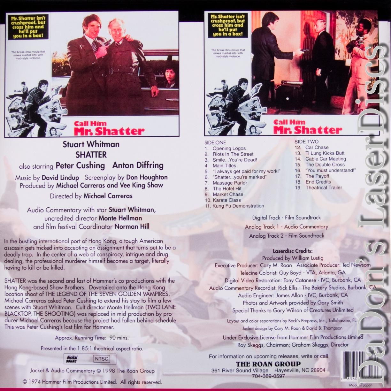Shatter WS Roan Hammer Rare LaserDisc Whitman Cushing Diffring Thriller  *CLEARANCE*