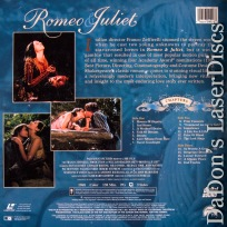 Romeo & Juliet Remastered WS 1968 Rare LaserDisc Hussey Whiting Romantic Drama